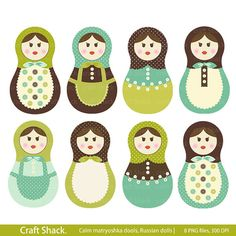 Calm dools Babushka dolls Russian Digital by craftshackdesign, $4.95