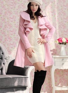 Morpheus Boutique  - Pink Trendy Ruffle Collar Shoulder Princess Woollen Coat