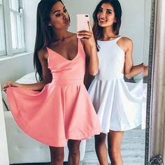 A-Line Jewel Backless Sleeveless Short White/Blush Satin Homecoming Dress