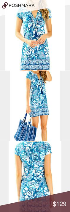 LILLY PULITZER SOPHILETTA DRESS KEEP ON TRUNKIN SM LILLY PULITZER SUPER SOFT, AUTHENTIC LILLY PULITZER UPF+ SOPHILETTA DRESS IN INDIGO, KEEP ON TRUNKIN PRINT SPF PROTECTION, CAP SLEEVE, NOTCH NECKLINE, ABOVE KNEE, ENGINEERED PRINT.   SIZE: SMALL  NEW! BRAND NEW WITH THE TAGS!  UPF 50+ RAYON SPANDEX JERSEY- 93% Rayon & 7% Spandex  SUPER SOFT!  No Smoking, Buy It Now, Bundle Discounts Available, REASONABLE Offers Accepted, NO Trades!  HAPPY SHOPPING=) Lilly Pulitzer Dresses Mini