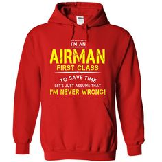 NVW Airman First Class T-Shirts, Hoodies. SHOPPING NOW ==► https://www.sunfrog.com/LifeStyle/NVW-Airman-First-Class-4079-Red-4168212-Hoodie.html?id=41382