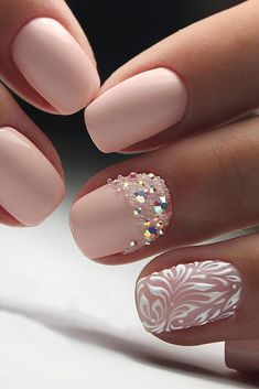 30 Perfect Pink And White Nails For Brides ❤ pink and white nails with rhinestones and white patterns masternailsira via instagram ❤ See more: http://www.weddingforward.com/pink-and-white-nails/ #weddingforward #wedding #bride #bridalnails #pinkandwhitenails