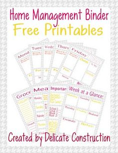 Home management binder free printables... Free! Oleeoleeander! FREEEE! And cute. Checkin' this out! After years of use and reuse mine are getting a bit boring. Same ol' same ol'. Delicate Construction WOW me! (no pressure) :-)