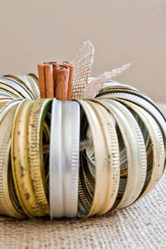 You can use all of the Mason jar lids lying around to make this amazing craft! Get the tutorial at Yellow Bliss Road. What you'll need: mason jar lids ($20 for 12 jars; amazon.com), burlap leaves ($4; amazon.com), cinnamon sticks ($8; amazon.com)