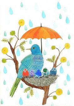 A little Bird more art Art And Illustration, Illustrations, Cute Birds, Little Birds, Whimsical Art, Bird Art, Bird Feathers, Watercolor Art, Watercolor Portraits
