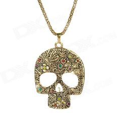 50% OFF! Hot picks! Only sold $3,Skull Style Zinc Alloy + Rhinestone Sweater Decoration Pendant Necklace - Golden ‪#‎madeinchina‬ ‪#‎jewelry‬>http://dxurl.com/RCJ1