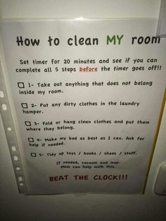 Bedroom Cleaning Checklist: Help Kids Know Expectations For This Chore How to clean my room: Beat the clock! – submitted by a reader, Adamilka, with her personalized version of the bedroom cleaning checklist for her kids! {on Stain Removal Kids And Parenting, Parenting Hacks, Clean Bedroom, Cleaning Hacks, Cleaning Room, Room Cleaning Checklist, Chore Checklist, Cleaning Lists, Kids Checklist