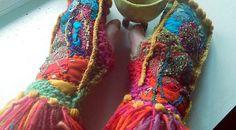 RESERVED/ handknit appliqued medieval gauntlets/ fingerless