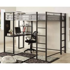 Functional and to-the-point, this loft bed showcases a simplistic design while including a handy workstation below. The unique design offers two corner shelves and two built-in ladders.