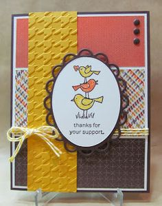Thanks for Your Support Card using For the Birds stamp set by Stampin' Up!. By Savvy Handmade Cards. PP171