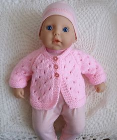 Baby Annabell Jacket - www. - Baby Wear Baby Annabell Jacket – www. Knitting Dolls Clothes, Baby Doll Clothes, Crochet Doll Clothes, Doll Clothes Patterns, Barbie Clothes, Dress Patterns, Preemie Clothes, Barbie Barbie, Baby Cardigan Knitting Pattern Free