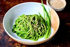Wild Garlic Miso Sauce with Soba Noodles {vegan/gluten-free recipe}