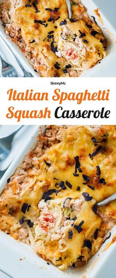 We combined spaghetti squash with turkey sausage, cheese, marinara sauce, and veggies to create a DELICIOUS Italian-inspired treat! | Italian Spaghetti Squash Casserole | Dinner Recipes | Clean Eating Recipes | Easy Recipes