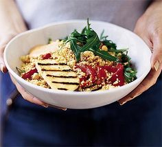 Couscous salad with halloumi & chick peas.