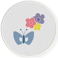 Charts Club Members Only: Butterfly And Flowers Cross Stitch Pattern