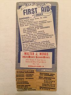 Vintage All In Vue First Aid Index Fold Out CPR Medicine 1950's Paper Ephemera     eBay