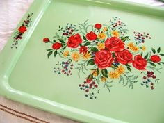 vintage metal tray - I can't get enough of these!