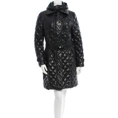 Moncler Montargis Belted Coat (655 CHF) ❤ liked on Polyvore featuring outerwear, coats, black, quilted coat, down coats, moncler coats, belted coat and coat with belt