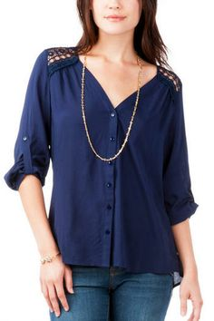 Sienna Buttoned Blouse- Crochet details line the shoulders & back of this navy button-up blouse Womens Clothing Stores, Online Clothing Stores, Clothes For Women, Cute Fashion, Fashion Outfits, Style Me, Ruffle Blouse, Ladies Shirts, Window Shopping