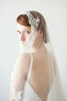 Lace Bridal Veil Mantilla Veil Wedding Veil Chapel by sibodesigns