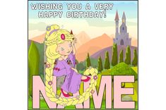 Rapunzel birthday card, personalised birthday, princess birthday, daughter birthday, granddaughter, any age card, fairytale birthday theme by ShellsCCC on Etsy Daughter Birthday, Princess Birthday, Very Happy Birthday, Cellophane Bags, Unique Cards, Kids Cards, I Am Happy, Rapunzel, Fairytale