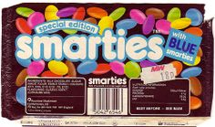 Special edition with blue Smarties. Lots of artificial colours. Sweet Wrappers, Candy Wrappers, Vintage Packaging, Food Packaging, Old Sweets, Retro Sweets, English Sweets, 80s Food, Vintage Recipes