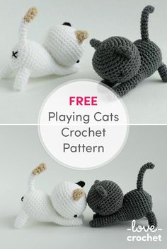 FREE playing cats crochet pattern! Shadow and Dottie would make a really cute addition to your desk! Find the free pattern at LoveKnitting.com