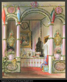 Queen Victoria's birthday table at Osborne: watercolour by James Roberts. Queen Victoria's Journals (http://www.queenvictoriasjournals.org). RA VIC/MAIN/QVJ (W) 24 May 1856 (Journal illustration).