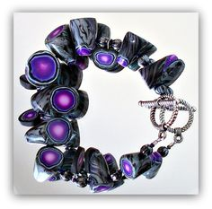 "Polymer Clay ""Faux Geode"" Bracelet   Bracelet is s…   Flickr - Photo Sharing!"