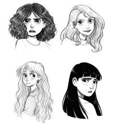 HP ladies by Courtney Godbey Illustration Hermione, Luna, Ginny and Cho