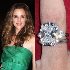 Jennifer Garner wears a beautiful 4.5 carat cushion cut diamond ring. https://www.facebook.com/SpitzJewelers