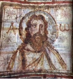 Mural painting from the catacomb of Commodilla. One of the first bearded images of Jesus, late 4th century.