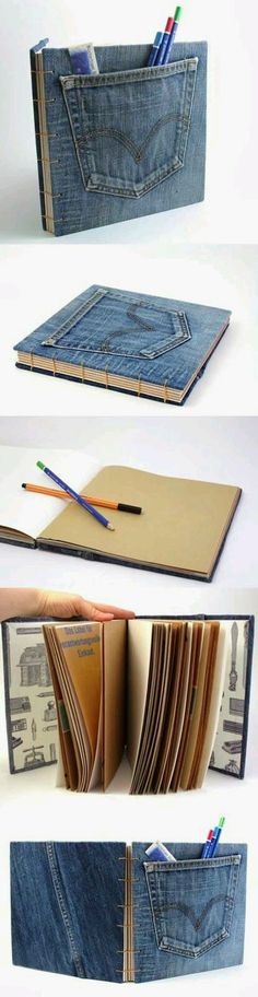 Formosa House: Ideas For Yourself To Do! Diy And Crafts, Arts And Crafts, Paper Crafts, Denim Crafts, Diy Notebook, Old Jeans, Handmade Books, Book Binding, Altered Books