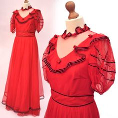 Vintage Red Net Prom Dress Ball Gown by DillyDandy on Etsy