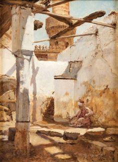 """Max RABES (1868-1944) La lecture du Coran, Le Caire Huile sur toile, signée en bas à droite, située et datée """"Cairo 1896"""". 41,5 x 30,5 cm - Gros & Delettrez - 20/11/2015"""