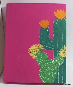 "Cactus Painting - Acrylic on 9""x12"" Canvas Neon Pink & Original *Free S&H* #originalpainting #art #acrylic #cactus #cactusart #cactuspainting #plants #artyoucanown #forsaleonebay #cmounk #forsalebyartist #painting #forsale #ebay #neon #pink #brightpink #neonpink"