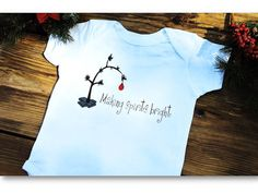 Making Spirits Bright Baby Bodysuit Baby Christmas by AppleCopter
