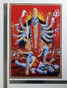 Goddess Kali Mata Devi Religious Vintage India Old Hindu Print Durga Kali, Kali Mata, Mata Amritanandamayi, Kali Statue, Vaishno Devi, Kali Goddess, Vintage India, Vintage Art, Hindu Deities