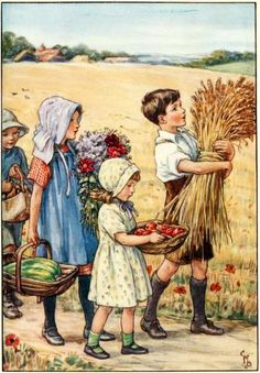 'Children Bringing in the Autumn Harvest' by English illustrator Cicely Mary Barker Images Vintage, Vintage Pictures, Vintage Postcards, Vintage Art, Cicely Mary Barker, Art And Illustration, Book Illustrations, Vintage Thanksgiving, Happy Thanksgiving