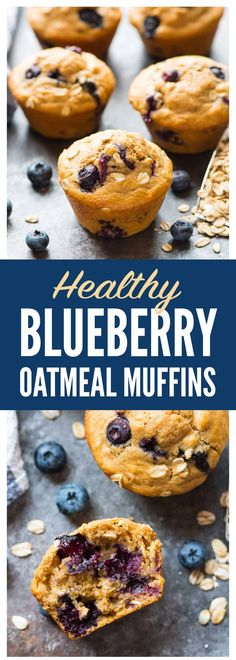 A simple but perfect recipe for the best healthy blueberry muffins, made with oatmeal, whole wheat flour, and cinnamon. Moist, fluffy, and berry PACKED! #muffins #healthy #blueberries