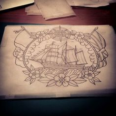 Love the framing. Perfect for a thigh tattoo!Idk if I would get the flags on it...also no compass because this tattoo is going to connect to the story of the compass on my leg already.
