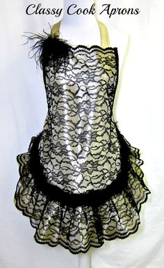 Apron BLACK Lace & FEATHERS on GOLD Taffeta, HOLIDAY Glamour Hostess, Elegant Pretty Party Gift, by ClassyCookAprons, $52.50