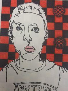 Less Talk, More Art: A middle school art ed blog: Contour line portraits with op art back ground 7th grade
