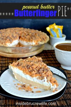 Peanut Butter Butterfinger Pie - peanut butter cheesecake topped with crushed Butterfinger pieces all in a baked Pillsbury pie crust