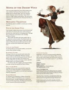DnD Homebrew — Way of the Desert Wind Monk by kitten-hugs Dungeons And Dragons Classes, Dungeons And Dragons Characters, Dungeons And Dragons Homebrew, Dnd Characters, Fantasy Characters, Monk Dnd, Dnd Classes, Dnd Races, Writing Fantasy