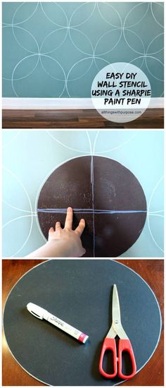 easy diy wall stencil with cardboard and a sharpie paint pen Different colors of course Stencil Diy, Stencil Painting, Stencils, Wall Stenciling, Diy Home Decor Rustic, Easy Home Decor, Diy Living Room Decor, Diy Wall Decor, Living Rooms