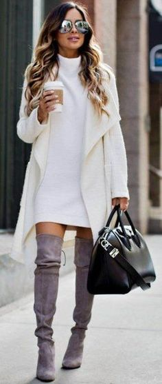 Over the knee boots are perfect for winter date night outfits! Cute winter date night outfits to wear on your next date! These ideas are perfect for casual or fancy dates in the chilly weather! Fashion Mode, Fashion Night, Look Fashion, Fashion Outfits, Fall Fashion, Womens Fashion, Fashion Boots, Outfits 2016, Street Fashion