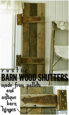 DIY Barn Wood Shutters (with antique barn hinges)