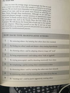 Manipulation [chart] - How each Enneagram type manipulates other people.