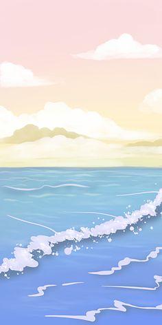 Pink Blue Gradient Ocean Sky Landscape